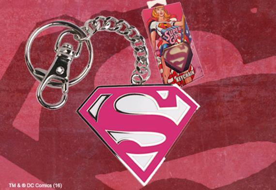 Supergirl 5cm Pink Logo Keychain