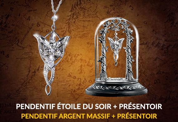 Pack duo Arwen - Pendentif Étoile du Soir Argent 925ème et présentoir - Seigneur des Anneaux