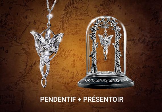 Pack duo Arwen - Pendentif Étoile du Soir réplique et présentoir - Seigneur des Anneaux